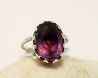 Vintage amethyst and sterling silver ring. UK size  L. US size 5 3/4