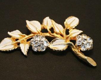 Vintage leaf brooch.  White enamel and crystal brooch. Crystal flower brooch