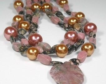 Statement Necklace, Super Chunky Mixed Gemstone Necklace, Rhodonite Leaf Necklace, Triple Strand, Mixed Gemstone, Boho Bohemian, Rocker