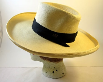 Vintage Panama Hat Wide Curled Brim Fedora Crown Black Grosgrain Ribbon Band w/ Crown B Pin Biltmore Canada Hat Size 6.5 Double Inner Band
