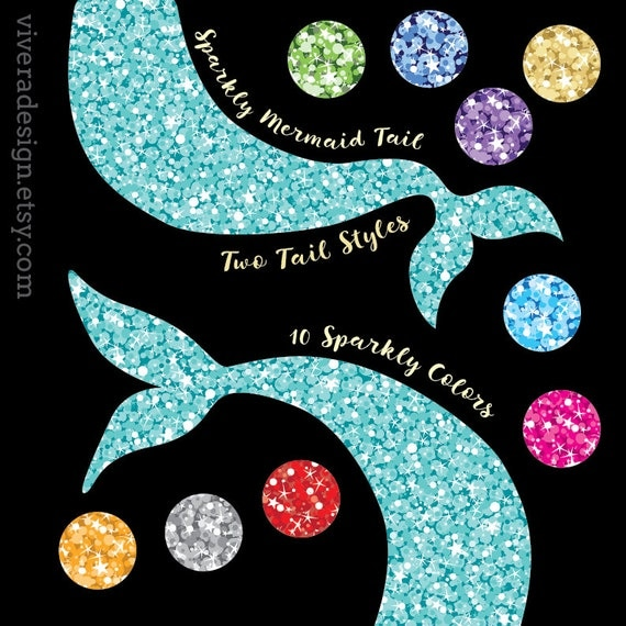 Glam Sparkly Mermaid Tail Clip Art Two Styles 10 By