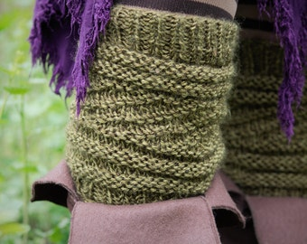 Pair of Hand Knit Earthy Green Boot Toppers or Leg Warmers