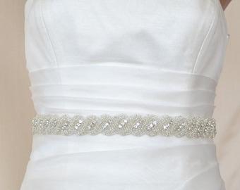 Elegant Rope Rhinestone Beaded Wedding Dress Sash Belt