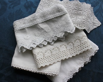 5 Beautiful Antique Embroidered Eyelet Lace Trims  11+ yards