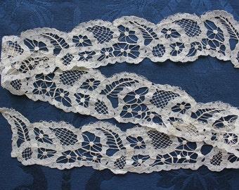 Antique Silk 19th c. Battenburg Lace