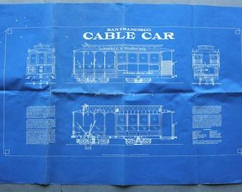 Vintage Reprint of San Francisco Cable Car Blueprint