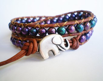 Purple Bracelet Elephant Jewelry Leather Wrap Bracelet Glass Beaded