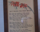 "Framed Poem "" Out Where The West Begins"""