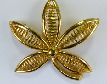 Flower Leaf Brooch //1960's 1970's // Gold//Brass Colour //New Old Stock