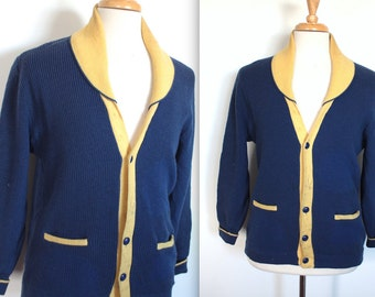 Vintage 1960's Shawl Collar Cardigan // 50s 60s Royal Blue and Yellow Varsity Sweater // Curling Cardigan with Pockets