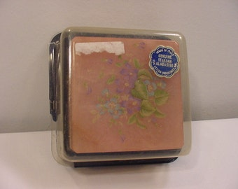 Vintage Pink Genuine Italian Alabaster Trinket Box In Original Packaging   15 - 105