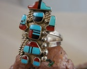Native American Kachina Dancer Warrior Sterling Silver Turquise Ring
