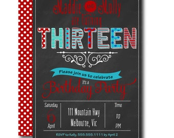 Twins Birthday Chalkboard Invitation.  Teen Birthday Invitations. Teenage party Invitation. Printable. DIY 1013