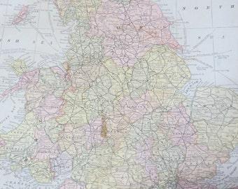 1891 Original Color Atlas Map-Art-122 years Old-England