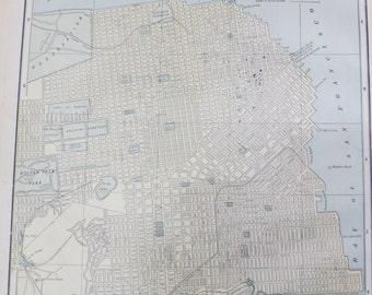 1891 Original Color Atlas Map-Art-122 years Old-City Street View-San Francisco