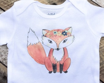 NEW Girl Fox Onesies®, Baby Girl Onesie, Fox Onesie, Woodland Onesie, Graphic Onesie, Shabby Chic Baby, Cute Baby Clothes, Baby Outfit, Prop