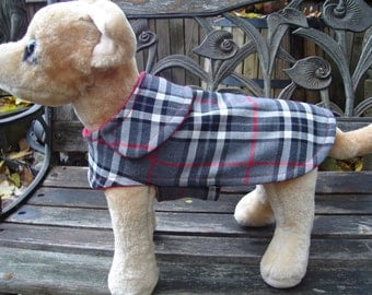 Grey Black Red and White Plaid Coat- Size XX Small- 8 to 10 Inch Back Length