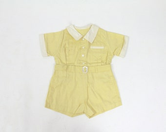 Vintage Baby Clothes / 1920s Baby Romper 1930s Baby Romper / Shirt Short Set / Deadstock Yellow Romper Size 1 12 Months New Mom Shower Gift