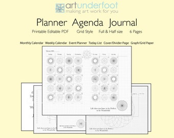 PDF Colouring Planner Agenda Journal. An editable PDF Weekly Monthly Planner.