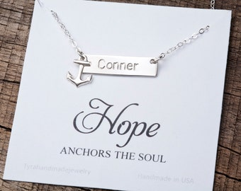 Anchor bar necklace,initial Name Plate Contemporary Bridesmaid's jewelry, Navy anchor wedding,Name Bar, Bar Personalized, Custom Name