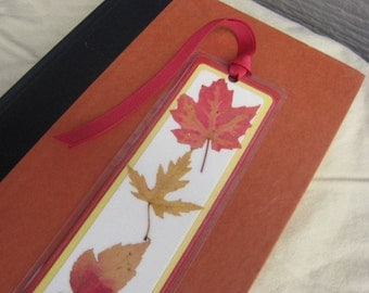 Yellow and Red Pressed Fall Autumn Leaves Laminated Bookmark