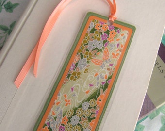 Bookmark Laminated Green and Orange Floral Japanese Washi