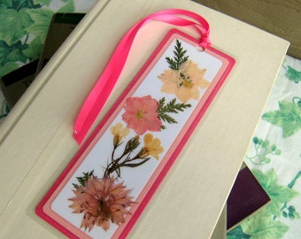 Bookmark Pressed Flower Dark and Light Pink With Fern Leaves Laminated