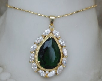 FABULOUS - Large - Tear drop - Green Paste and Rhinestone 18KG plated necklace