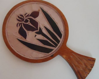 Japanese Traditional Handcarved Hand Mirror. 50s.Unique Piece.Quality
