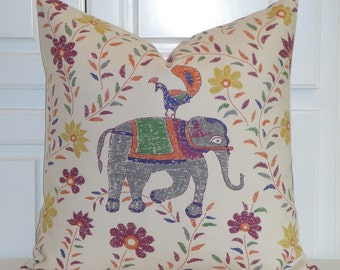 Duralee Fabric - Pillow Cover - Animal Print - Horse - Elephant -Whimsical  Accent Pillow