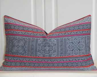 Tribal Decorative Pillow Cover - Hmong Pillow - Navy/Black Pillow - Pink Orange Embroidery Accent Pillow - Toss Pillow