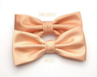 Mens Bow Tie Dark Apricot Bow tie Satin Plain Solid BowTie for Wedding Groom Groomsmen Men Boy Kid Baby Shower Bow tie Gift for him Present