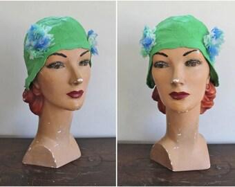 vintage 1960s swimming cap - AQUARIUS green rubber swim hat