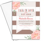 Fall baby shower themes for girls | Fall baby shower ideas | sip and see invitation for girl | coral, brown fall invitations - WLP00799