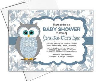 Printable baby shower invitations for a boy | owl baby shower invites | blue and gray digital or printed - WLP00730