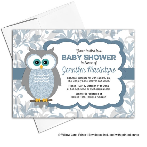 printable baby shower invitations for a boy owl baby shower invites