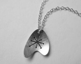 Atomic Star Boomerang Pendant silver mid century modern retro starburst asymmetric necklace (N10)