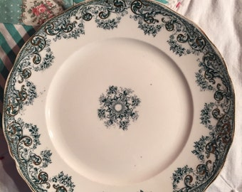 Vintage Salad Plate Green Floral Alpha Knowles Taylor Knowles Made in The USA #3588