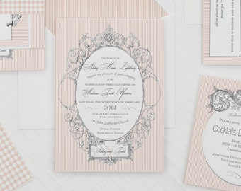 Victorian Striped Wedding Invitation,Vintage Striped Wedding Invitation,Shabby Chic Striped Wedding Invitation,Romantic Blush Wedding Invite