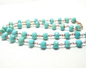 Sleeping Beauty Turquoise Rose Gold Necklace Rosary Style