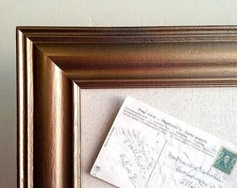 Large BULLETIN BOARD Office Wall Decor Antique Gold Bronze Framed Fabric Board Cork Board Linen Kitchen Organizer Kids Artwork Display