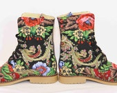 Reserved for Annie Urban boots Ankle Boho Flower Lace up Boots Urban shoes Boots in canvas flower print  Urban boots Handcrafted  shoes