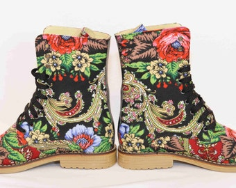 Urban boots Ankle Boho Flower Lace up Boots Urban shoes Boots in canvas flower print  Urban boots Handcrafted  shoes