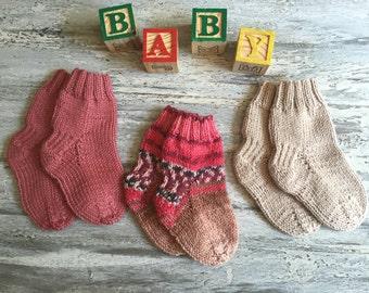 3 Pairs ~Hand Knitted Baby/ Opal Sock Yarn // Knitted Baby Socks // Hand Knitted Baby Clothing // Hand Knitted Socks //Baby Socks