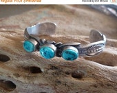 RESERVED for SAMANTHA, Three Stone Turquoise Cuff, Signed Navajo Sterling