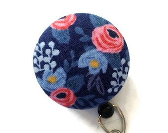 Rifle Paper Co. Blue Floral Badge Reel Retractable Badge Reel Name ID Badge Holder Swivel Badge Clip Nurse Coach Teacher Mom Gift