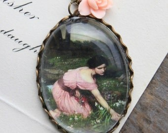 Spring Flowers Necklace. John William Waterhouse. (magnifying pendant art book illustration fairytale jewelry antique whimsical jewellery)