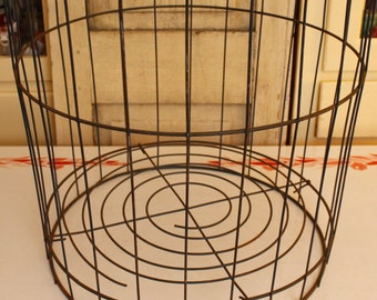 Industrial Wire Metal Laundry Basket, Vintage Storage Organization, Extra Tall Metal Basket, Kitchen Storage, Antique Laundry Bin