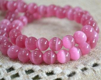 """50 Cat's Eye Glass 8mm Dark Pink Round Beads Fiber Optic 16"""" Strand"""