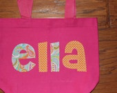 Girls Personalized Name Applique Tote  - kids book bag girls library school custom birthday gift idea wedding flower girl beach purse